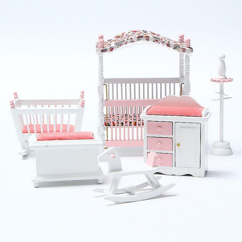 Cute Wooden Diy Mini Dollhouse Bedroom Furniture Toys Set Miniature ...