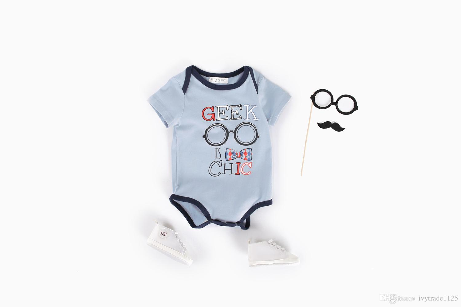 INS 2018 hot Style new 100% cotton baby cartoon Individual house fox pring romper baby short sleeve soft sumer romper sets