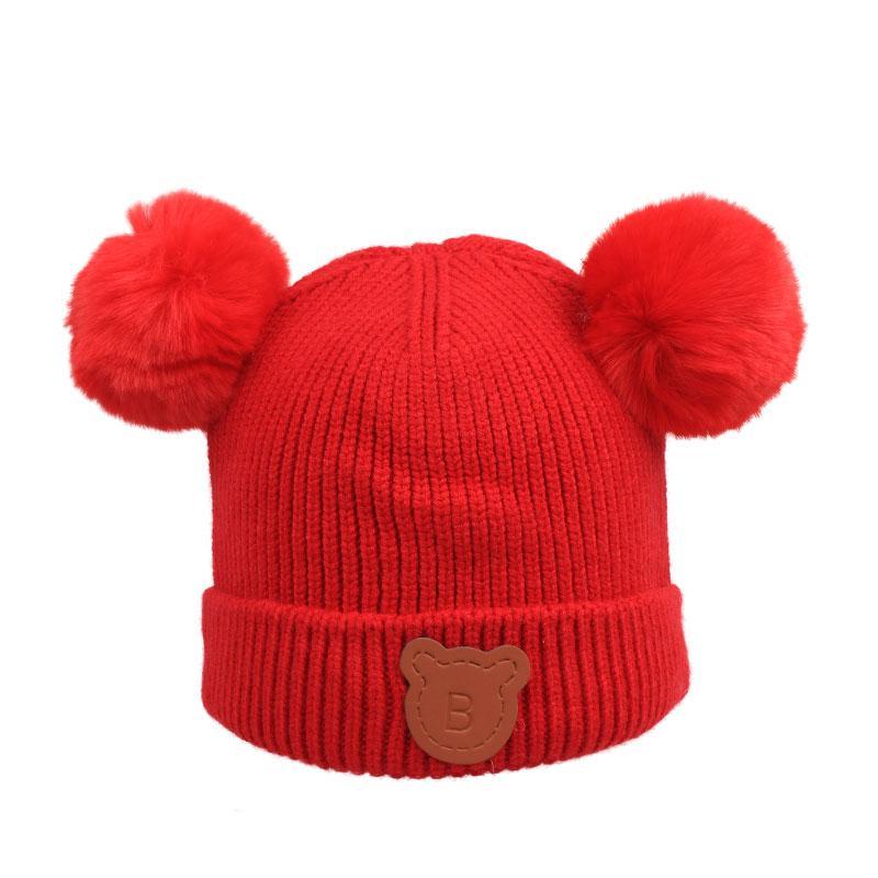 Acheter Enfants Chaud Hiver Bonnets Double Fourrure Pom Pom Bonnet Laine  Chapeau Tricoté Pour Bébé Garçons Filles Pompon Lapin Boules Bonnet Bonnet  Bonnet ... 0d6ebb30964