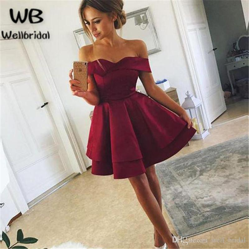 2018 Off Shoulder Homecoming Dresses Short Ball Gown Short Sleeves