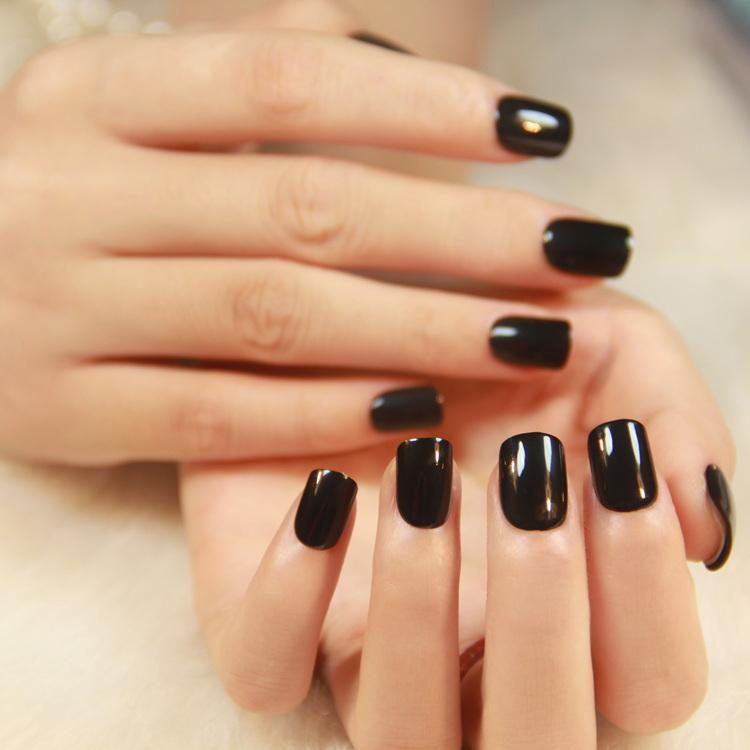 Hot Popular Solid Color Pre Glue Fake Nails Short Press On Style