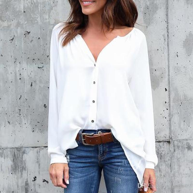 Women Chiffon Blouse Shirts Casual Plus Size S- 5XL Single-breasted European Summer Fashion V Neck Long Sleeve Tops