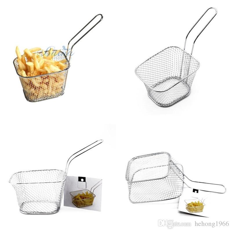 Siebkorb Fry Food Hamper Pommes Frites Korb Hähnchenflügel Snack Netzwerk Filter Strainer Küche Eisendraht Colanders 5 5br V