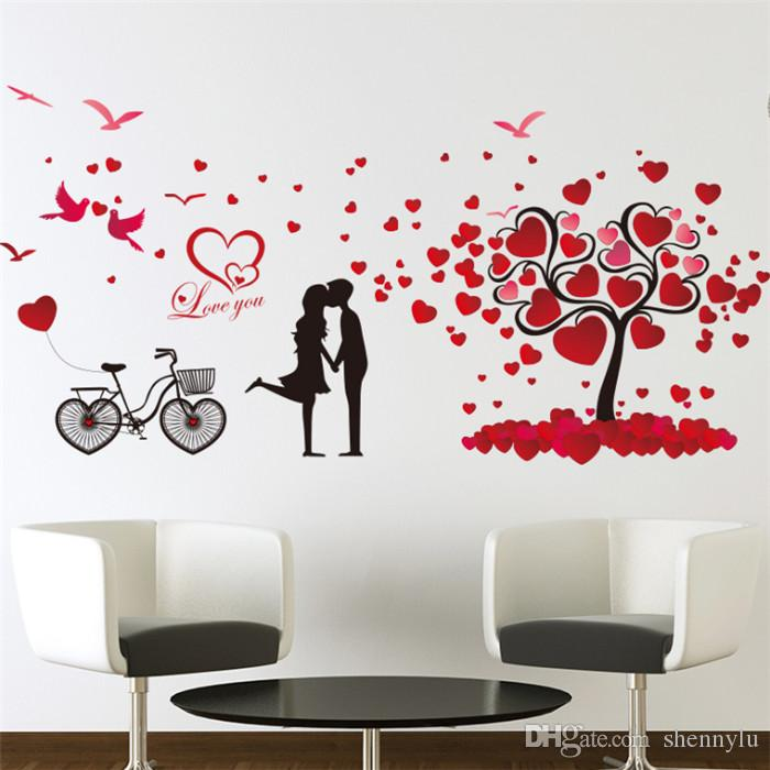 Romantic love tree couple birds bicycle removable wall sticker for wedding bedroom bedside mural decal home decor