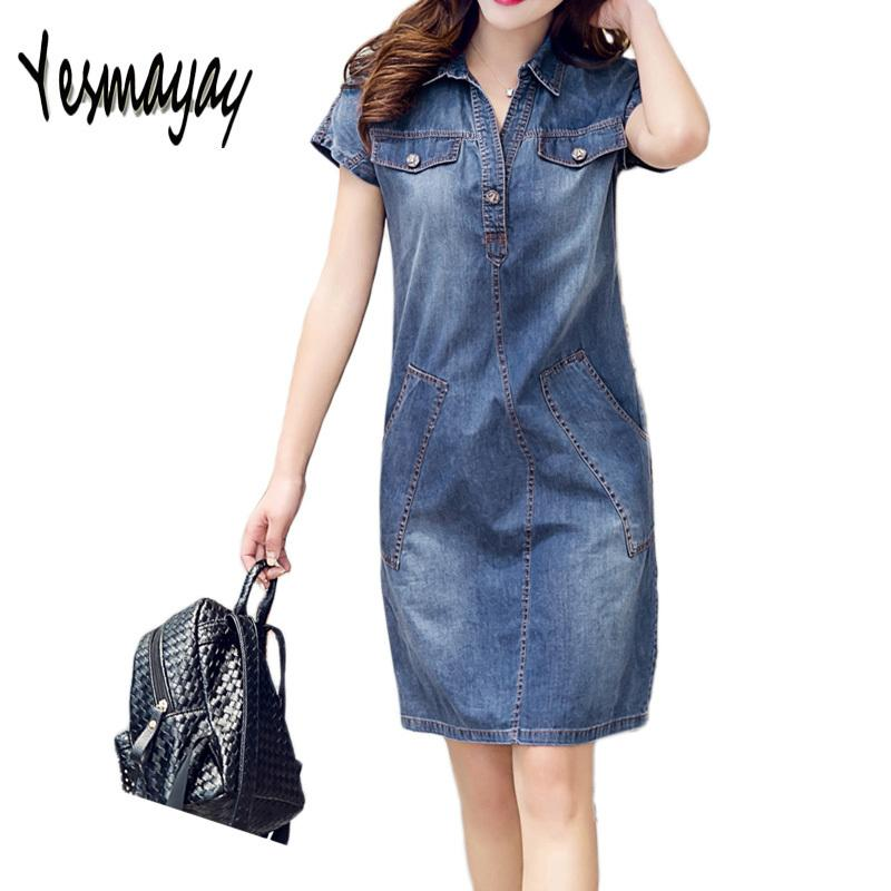 4141d94e4307 2019 Summer Denim Jeans Dress Vestidos Women Slim Casual Vintage Short  Sleeve Jeans Denim Dress 2018 New Fashion Dresses Robe Femme Y1890812 From  Zhengrui07 ...