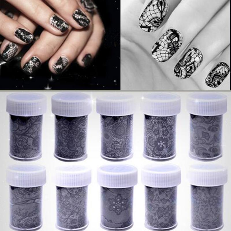 10 Rolls 100cm*4cm Black White Lace Flower Transfer Foils Nail Art Sexy  Sticker Paper Decoration Decal Polish Tools DIY Manicure
