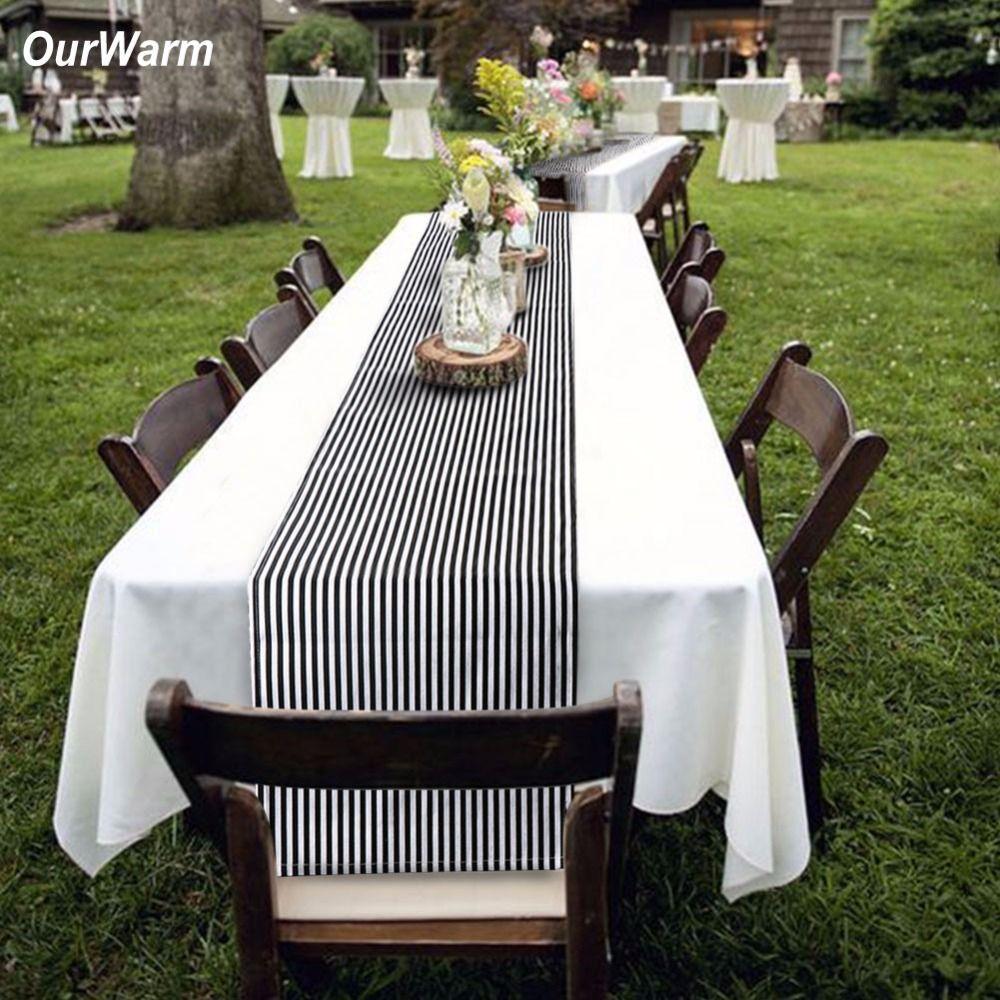 OurWarm 182 * 35 cm elegante mantel de la boda blanco y negro de rayas mantel para el día de San Valentín decoración del partido de la cena