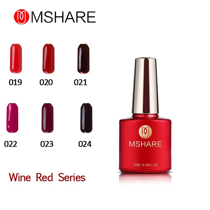 Wholesale Mshare 10ml Nail Gel Polish Rose Red Series Wine Red Uv