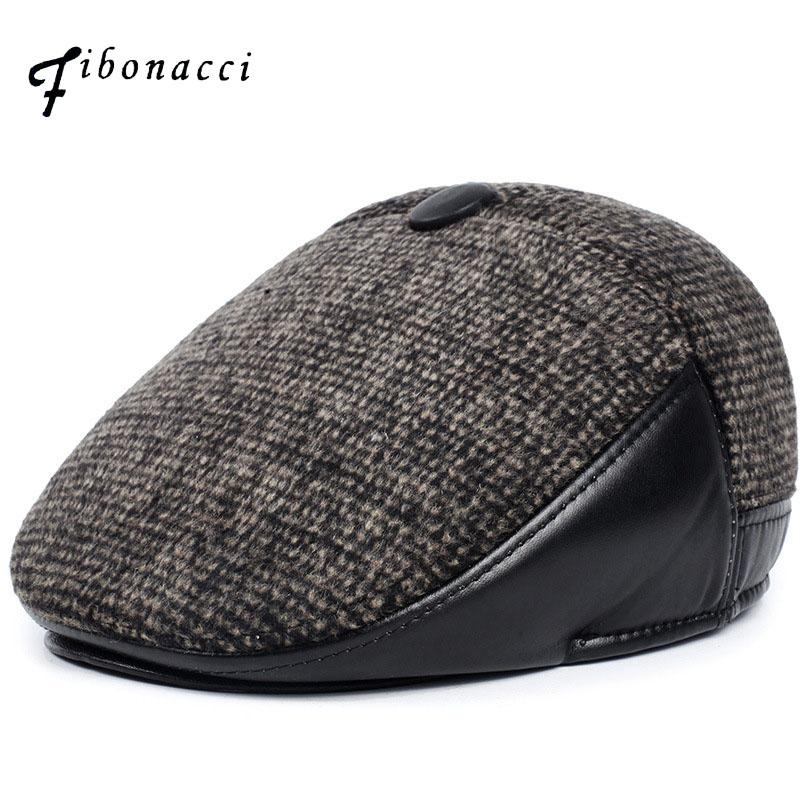 Fibonacci Middle Aged And Old Man Vintage Flat Cap Woolen Ear Protection  Beret Plus Velvet Hat Newsboy Cap UK 2019 From Newcollection 47230101d38