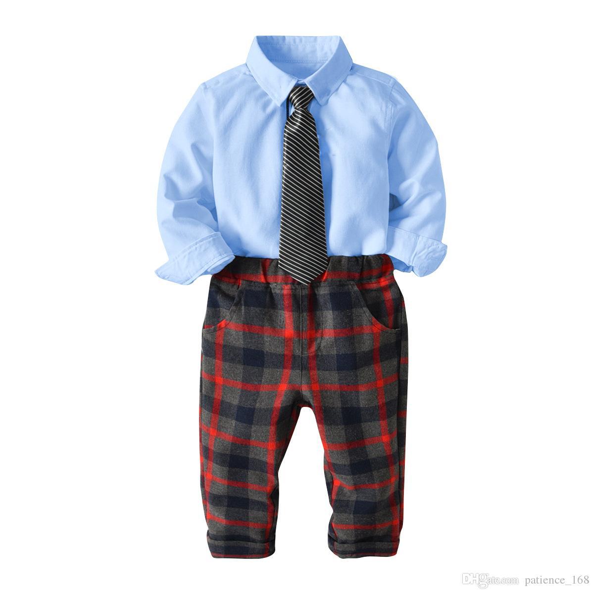 4c8cc959eddf 2019 Boys Sets 2018 Baby Kids Sets Cotton Pure Color Long Sleeved ...