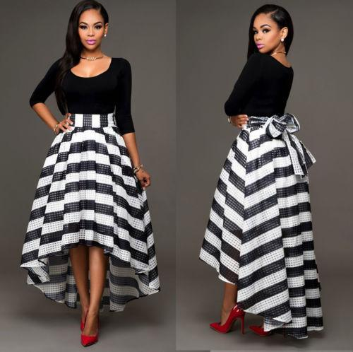 fashion women black long sleeve t shirt tops striped skirts back big