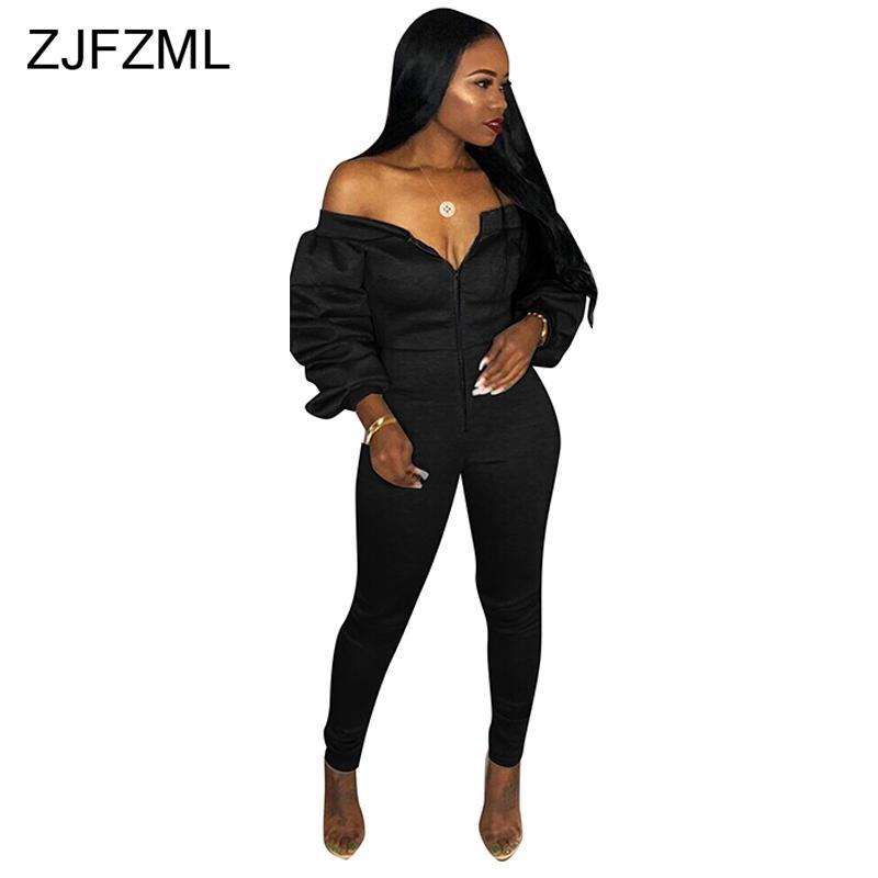 94c48d1e018 2019 Lantern Full Sleeve Sexy Black Bodysuits Slash Neck Off The Shoulder  Long Jumpsuit For Women Front Zipper Backless Party Romper From Garters