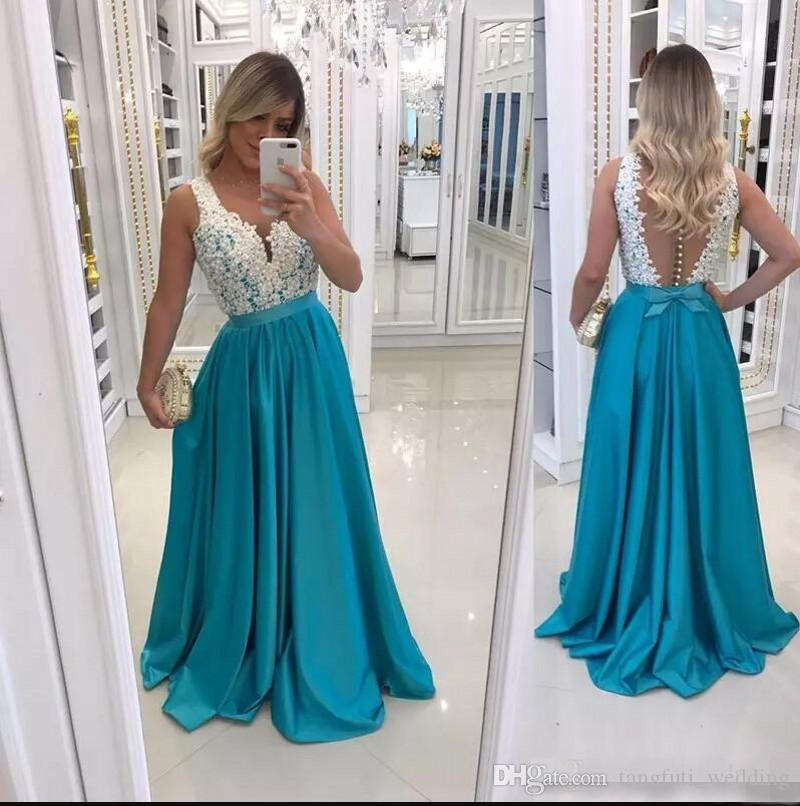 Blue Arabic Prom Dresses Party Long Lace Appliques Pearls Beading Sexy Illusion Back Evening Dress A Line Prom Party Formal Gowns Wear