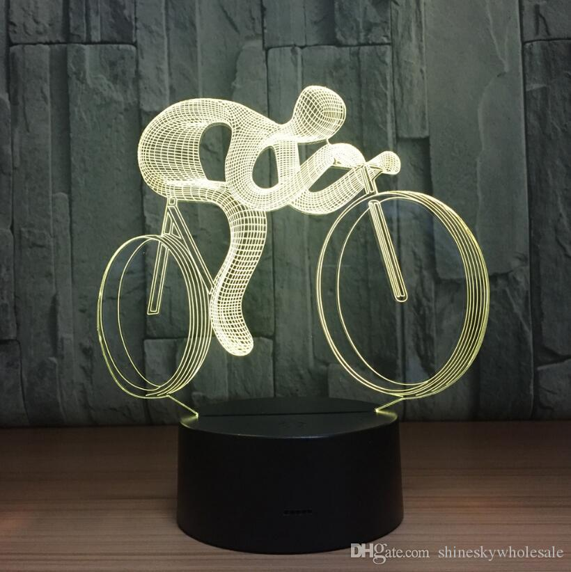 Room decorative bike racing shaped USB night light LED acrylic table lamp novelty bedside moon night light