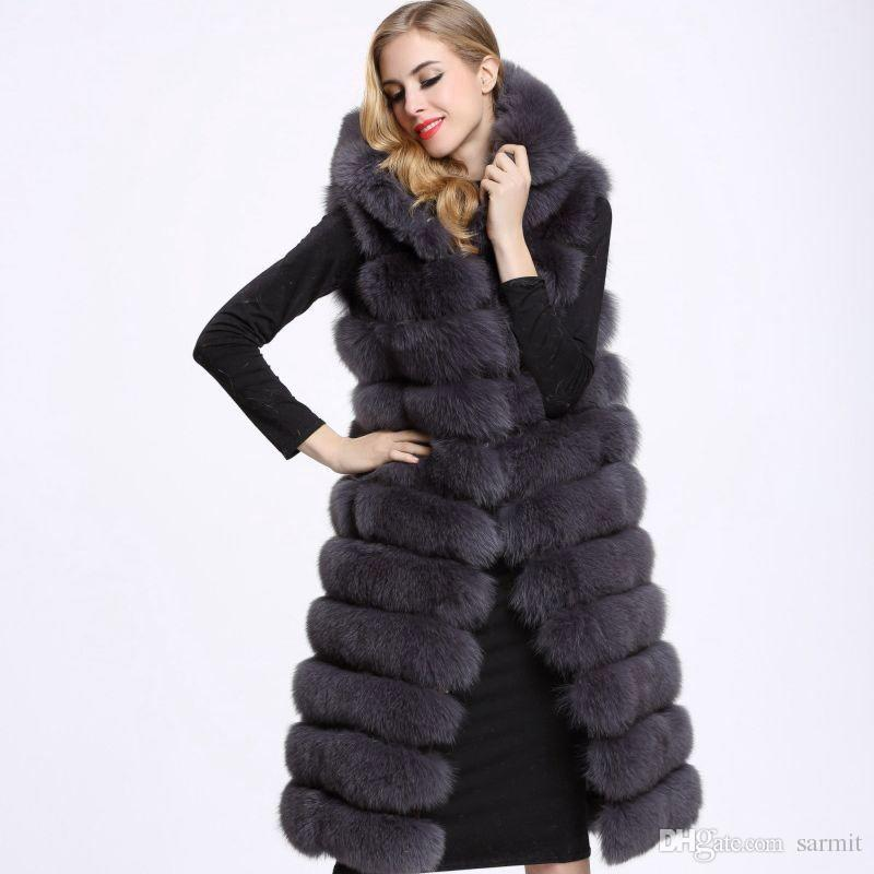 a92f25ec98e 2019 Long Faux Fur Vest Women Fur Coat Fake Fur Gilet Jacket 2018 F0401 S  4XL Sleeveless From Sarmit