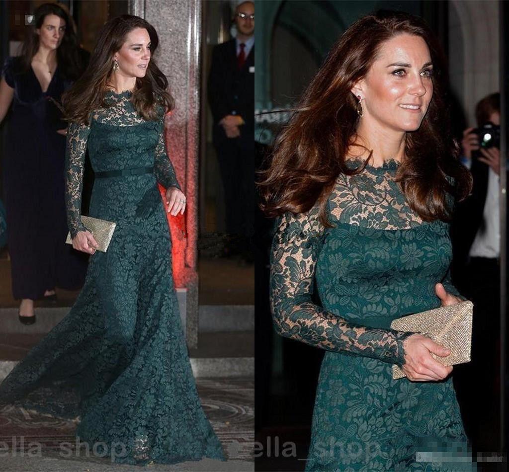 Vintage Hunter Green Lace Evening Dresses Long Sleeve 2018 kate Middleton Bateau Sheer Neck Elegant Prom Occasion Dress Gown