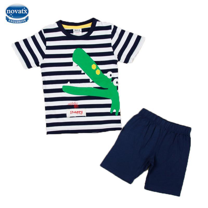 2017 mode designs striped kinder kleidung sets nova kinder tragen applique krokodil babykleidung set sommer kinder jungen casual anzüge