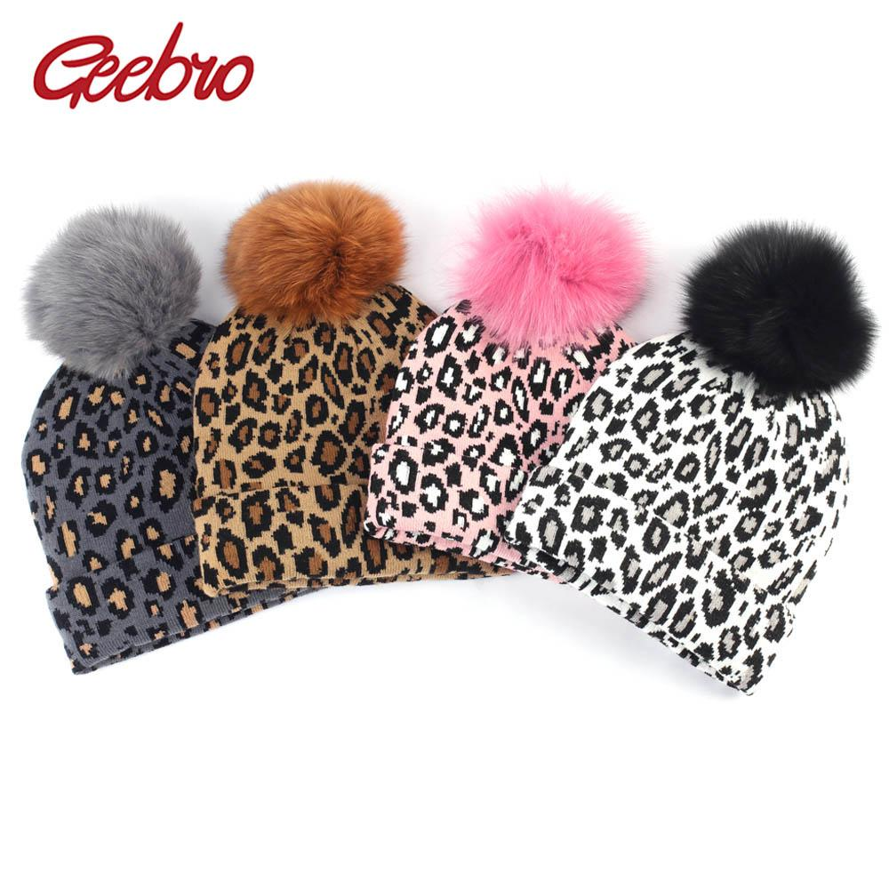 48a80014927c Geebro Women's Leopard Beanie Hat with Fox Fur Pompom Winter Warm Leopard  Slouchy Beanies with Real Fur Pompon Femme Skullies