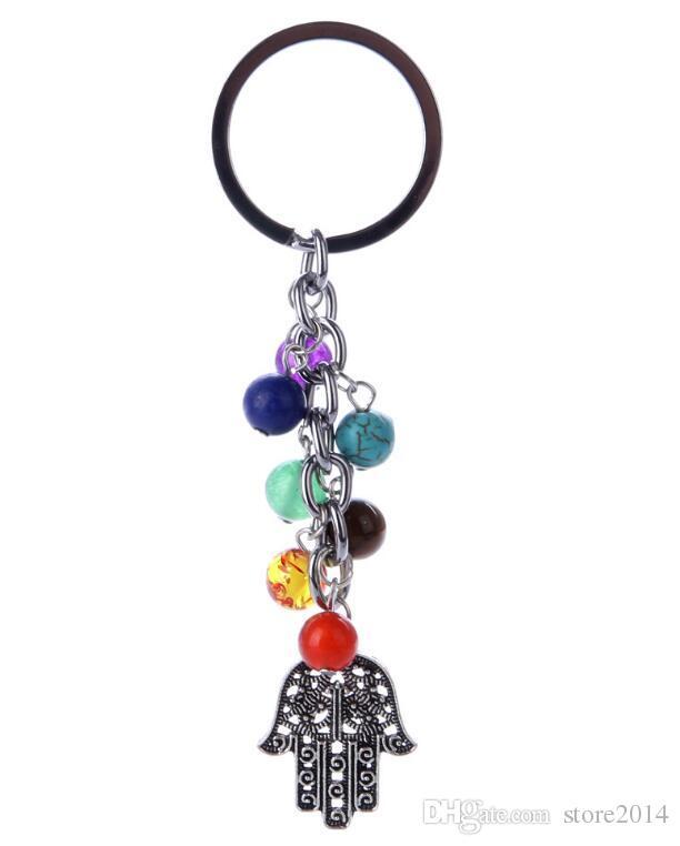 7 Chakra Keychain Tree Of Life/Hamsa Hand/Anchor Key Rings Yoga Colorful Beads Energy Key Chain