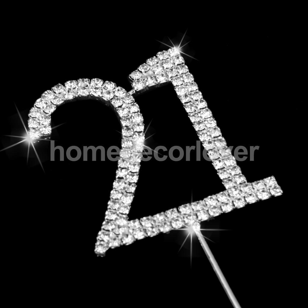2018 Bling Crystal Diamante Number 21 Cake Topper For Anniversary