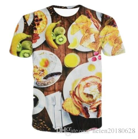 Newest 3D Hamburger with Cheese&Fruits Food Print Graphic T Shirts Men/Women Comfortable Clothing Hiop Hop Tops Summer Tees