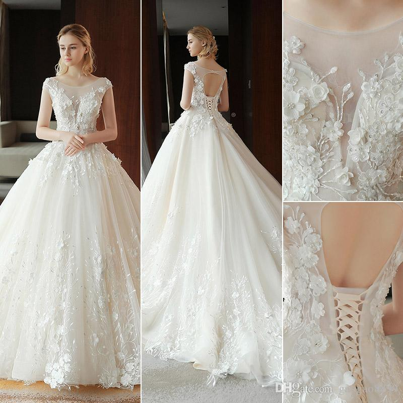 25216dcfa3 2019 New Designer Arabic Ball Gown Wedding Dresses Plus Size Modest Sheer  Neck Embroidery 3D Flowers Lace Tulle Corset Bridal Wedding Gowns Wedding  Dress ...