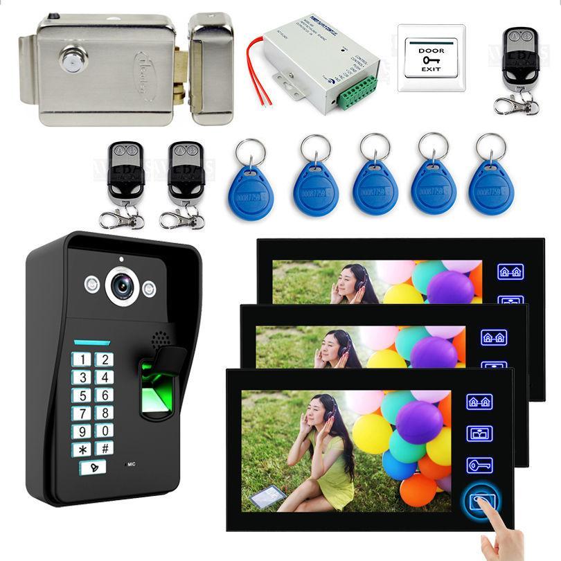 7 Touch Monitor Video Doorbell Kits Fingerprint /RFID Keyfobs /password  /Electronic Door Lock/ Video Door Phone Intercom System