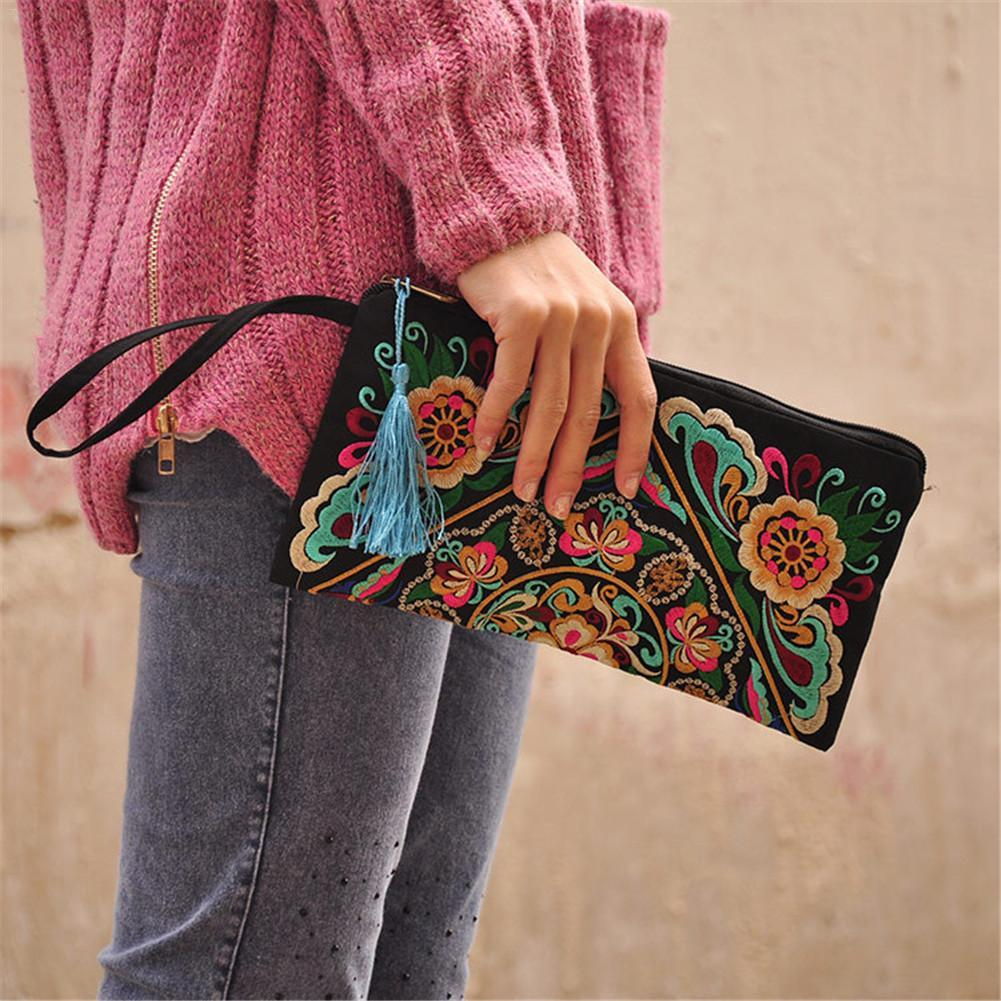 Ethnic Style Embroidered Clutch Bag Fashionable Wallet Embroidered Day Clutches Wallet Storage Casual For Women Top-handle Bags