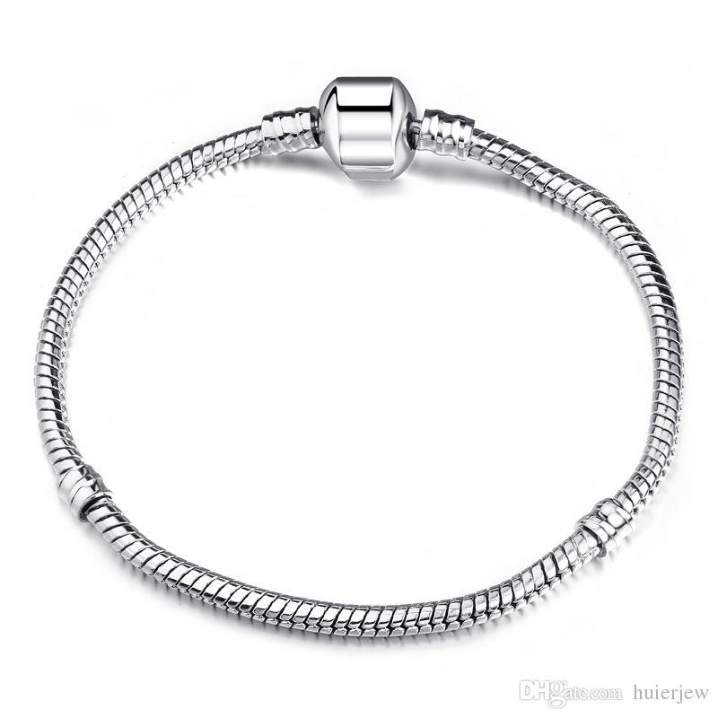 Chains Bracelets 925 Silver LOVE Snake Chain Bracelet & Bangle Pulseras Lobster for Charms Beads Link Bracelet