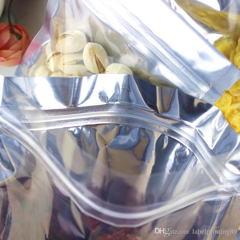 Différentes tailles Traducteur et argent zipper serrure Sacs d'accrochage Clair sur Front Mylar Aluminium Feuille Zipper Pochette Pochette Café Bease Pochettes