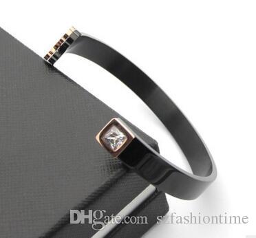 Wholesale trade titanium steel bracelet Bear single crystal black titanium steel open bracelet 18K rose gold trade bracelet