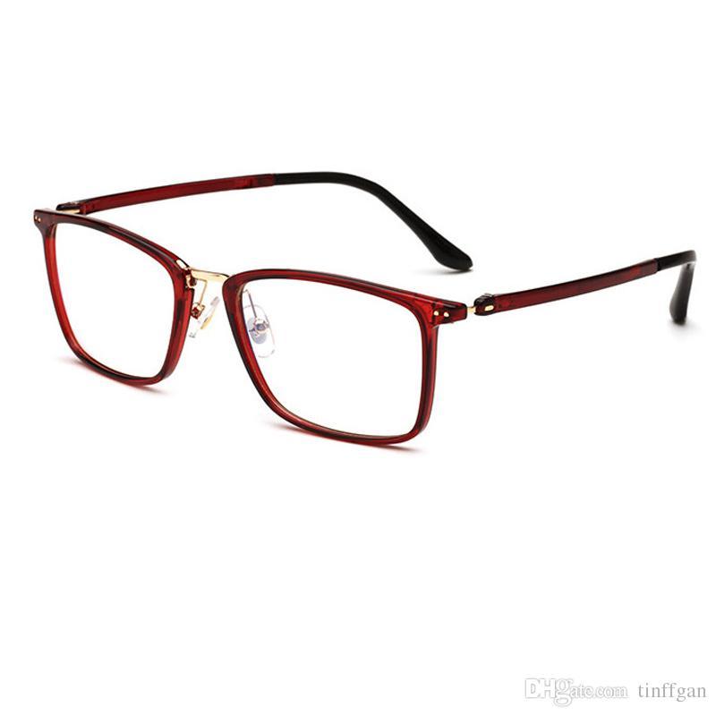 b2de56fda Compre 2018 Praça Muito Leve TR90 Armações De Óculos Das Mulheres Dos Homens  De Espelho Liso Óptico Revestimento Lente Óculos De Armação De Óculos Para  ...