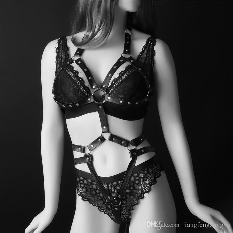 Corps en cuir jaulas soutien-gorge jaula harnais Goth Lencería Cuerpo harnais ceinture Nouveau sexy Harnais femme