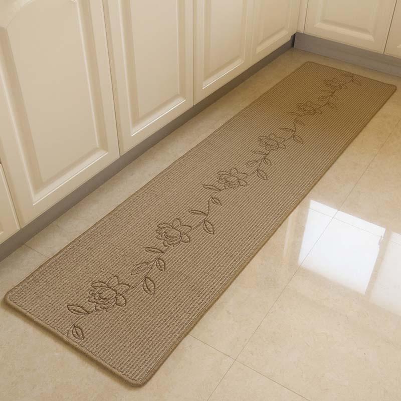 Durable Hand Embroidery Bedroom Floor Mat Anti Slip Long Kitchen
