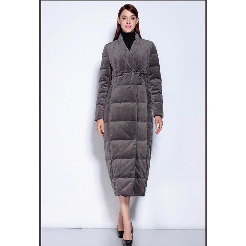 competitive price fd5d6 a0e29 Piumino lungo da donna Cappotto grigio Nuovo parka caldo antivento caldo  pesante