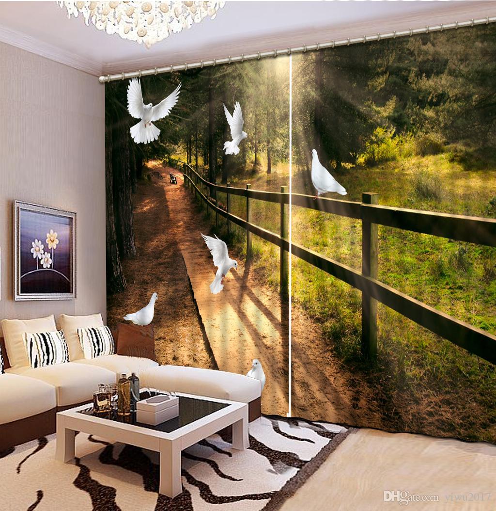 Творческий Гостиная Спальня шторы красивый цветок занавес для окна домашнего декора сломал стены затемнение шторы