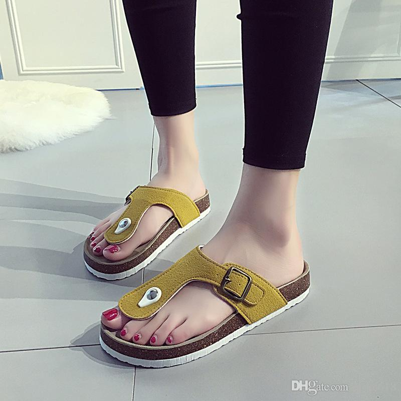 Toptan Yeni Yaz kadın lüks plaj cork Terlik Rahat Sandalet Sequins Slaytlar Çift Toka Takunya Kadın Flip Flop Flats Ayakkabı üzerinde Kayma