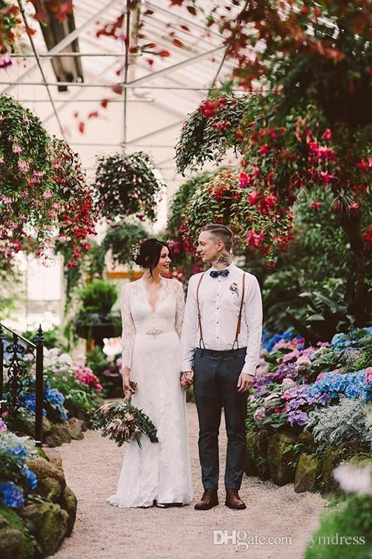 Sheath Wedding Dresses Kate Middleton in Jenny Packham Lace Boho Long Sleeve with Belt Elegant V-neck Full Back country Bridal Wedding Gowns