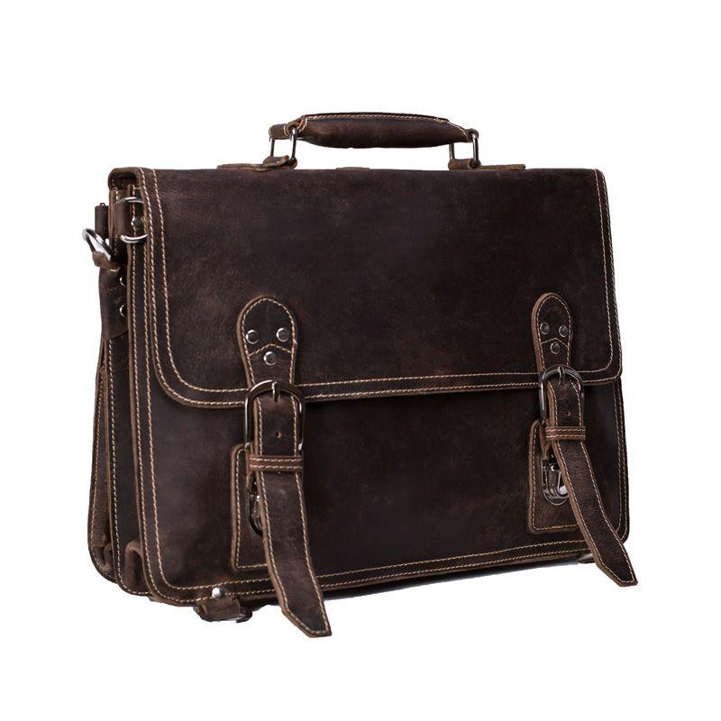 a98b965f4d8e5 ROCKCOW Handmade Vintage Leather Briefcase