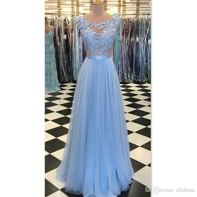 114bbde21a 2018 Light Sky Blue Prom Dresses Illusion Sheer Straps A Line Tulle  Appliques Lace See Through Actual Image Special Occasion Party Gowns Long  Sequin Prom ...