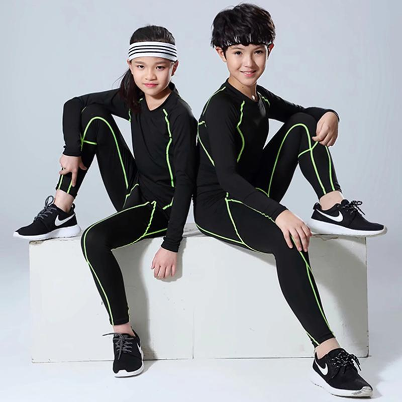 8b7da074a Children Men's Sport Suits Quick Dry Boys Running sets Clothes Sports  Joggers Training Gym Fitness Tracksuits girls Running Set