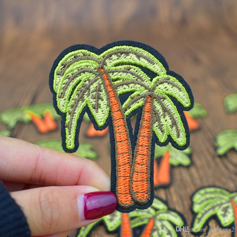 10 UNIDS Lindo Parches de Árbol de Coco en Raya Costura Bordado Ropa Parches para Pegamento Patchwork Parche de Ropa para Vaqueros Apliques Diy Craft