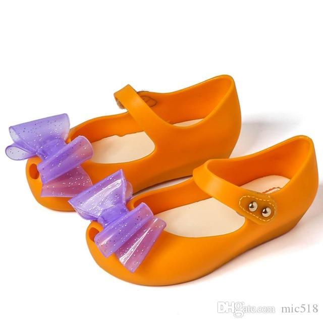 488f3e6872d31 Mini Melissa 2018 Summer New PVC Double Bow Soft Comfort Kids Sandal Winter  Shoe Toddler Girl Sandals Jelly Shoes Mini Melissa Girls Sandals Girl  Sandals ...