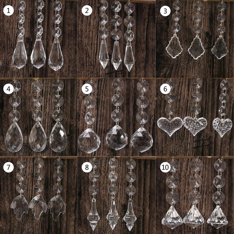 Acrylic Crystal Beads Drop Shape Garland Chandelier Hanging Party Decor Wedding Decoration Centerpieces For Tables Supplies