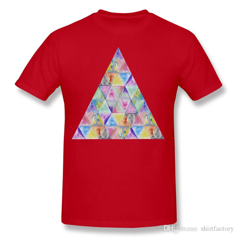 High Quality Men's Pure cotton Geometric watercolor hand paint triangles pattern Tee Shirt Men's O Neck White Shorts T-Shirt Big Size Street