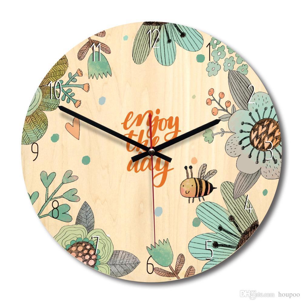 4 Design Cartoon Wooden Wall Clock Watch Stickers Home Decor Bedroom ...