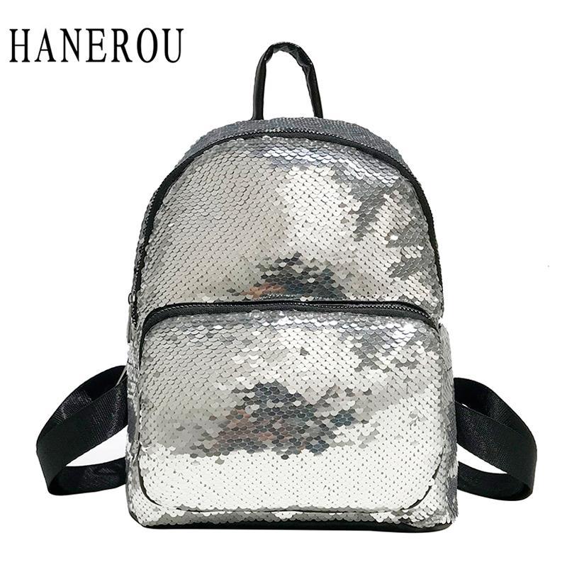68348de4c118 HANEROU Cute Silver Sequins Backpack Women PU Gold Mini Bag For Girls  Students Glitter Sequin Backpacks Fashion Rucksack Bling Camo Backpack  Batman Backpack ...