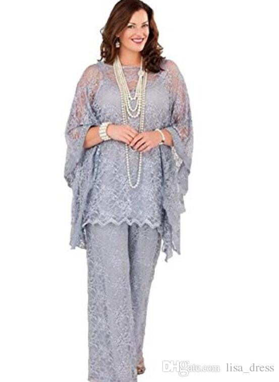 Lace Mother of the Bride Pant Suits 2017 Long Sleeves Three Pieces Silver Gray Formal Women Plus Size Groom Mother Dresses for Wedding