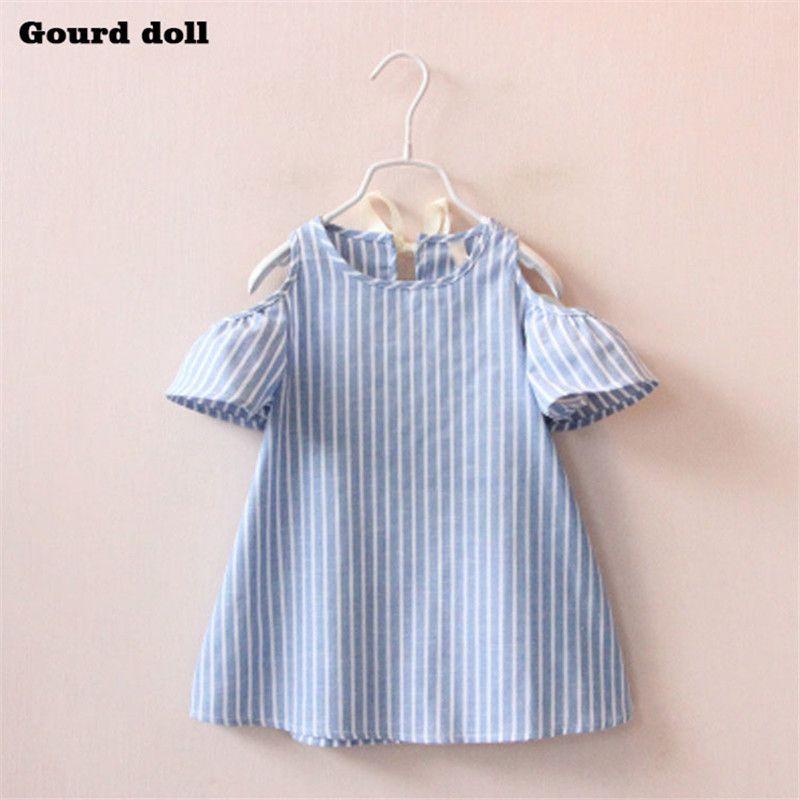 Satın Al 2 6 T Mavi Beyaz çizgili Kız Elbise Yaz Prenses Elbise Kız