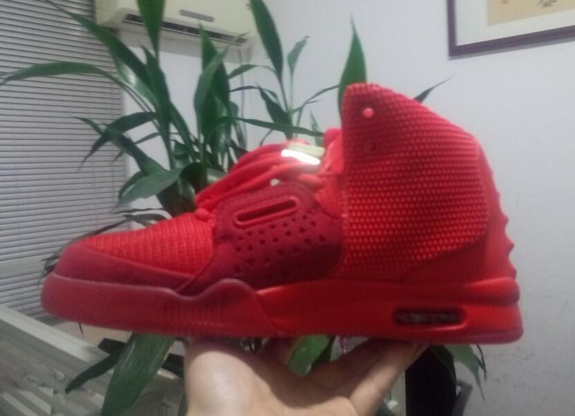 Red October Kanye west 2 mens Scarpe da basket donna Solar Red Sneakers la vendita moda Wolf Grey Pure Platinum pelle di pesce trainer size36-47